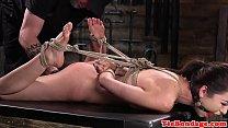 Spreadeagled bondage sub toyed using vibrator