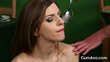 Flirty sex kitten gets jizz load on her face eating all the charge