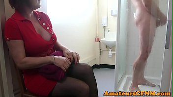 CFNM mature catches sub guy while jerking