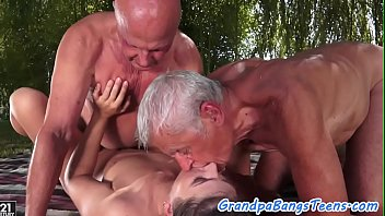 Cocksucking euro beauty banged by oldmen