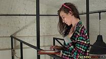 Beautiful but very skinny brunette teen fingering herself