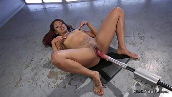 Big booty ebony squirter gets machine