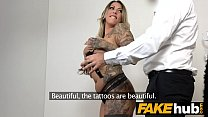 Fake Agent German girl with tattoos and natural body on casting couch