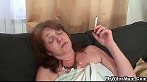 Son-in-law doggy-fucks big tits granny