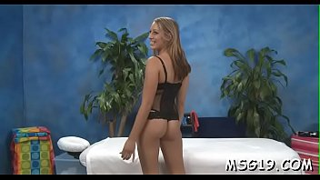 Hottie with taut round ass smashed hard in a massage room
