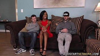 Ebony Ivory Logan Interracial Threesome