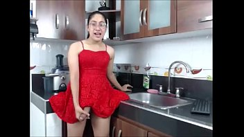 TS teen latina stroking big cock in red dress - TScamdolls.com