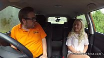 Instructor cums on blonde driving student