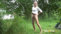 Blonde Pissing - Holiday maker leaves her tent to piss outside