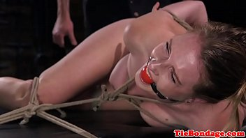 Tied up bondage sub whipped and spanked