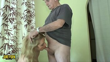 Old men wakes up a young woman who could be his granddaughter