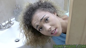 Hung dude plows big ass ebony teen and cums in her mouth