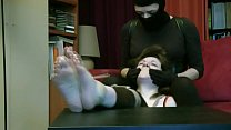 Tied and tickled by masked kidnapper