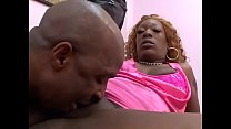 Black stud fucks a thick ebony whore indoors then cums on her