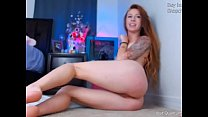 Redhead Brina's pink pussy and sexy feet
