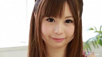 Perfect Japanese teen solo masturbation tease and dildo play 2 min