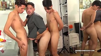 Dad and Sons Bareback Daisy Chain Fuck