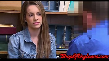 Slutty shoplifter sucking and fucking mall cop for facial in hd