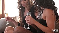 Watch leggy lesbians Alexa Tomas & Capri Anderson ride strap-on sex toy