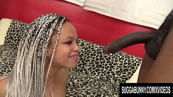 Ebony Slut Ashley Love Has a BBC Pushed in Her Mouth and Twat