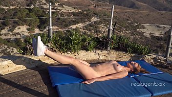 After yoga Russian star Merry Pie fingers her nice cunt outdoors