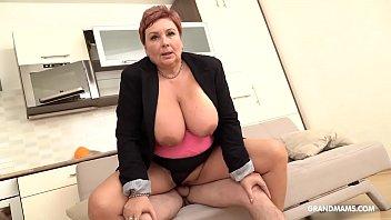 Redhead German granny a. nephew with her big tits