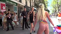 Naked body painted blonde in public