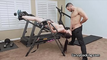 Gym bench blowjob with busty Kyra