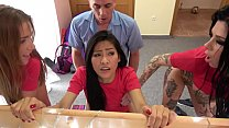 Fake Hostel Italian Thai and Czech soccer babes squirting in crazy orgy