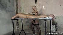 Cock tugging mistress teases restrained sub