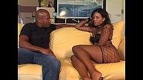 Two black sluts share jizz after stud fucks ebony bitch's asshole in threesome