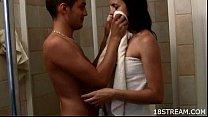 Teen sex in shower cabin