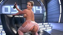 Big tits stunning blonde fucks machine