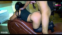Hard and wild homemade fuck with my boyfriend on all fours on the couch