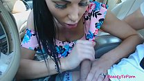 Amateur beauty gives short blowjob in the car, cum in mouth