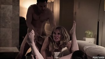 Horny blonde MILF caught her stepson fucking with his girlfriend on a couch and decided to joined them in a hot threesome session.