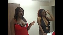 Pair of fat sexy black sluts suck white stud's cock and he licks cunt in threesome