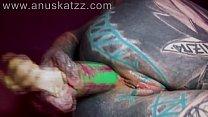 Heavily tattooed dreadgirl plays anal