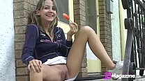Little Titty Andi Pink Licks Popsicle & Shows Pussy!