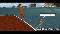 Sexy 3D cartoon hottie gets fucked on a boat