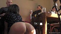 Public bar table sex in bondage 5 min