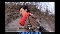 PublicAgent Tall and Skinny model hopeful takes cock outdoors