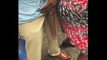 Huge! Big Black Dick Flash in Public Bus Stop 75 sec