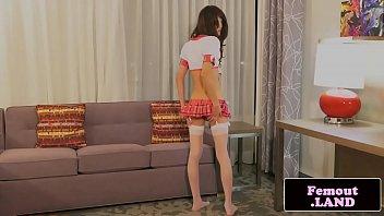Oriental trap wanking in schoolgirl outfit