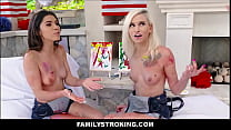 Two Hot Teen Step Sisters Threesome With Step Brother On 4th Of July