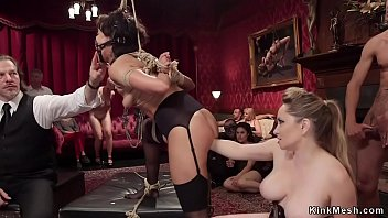 Cute slave tormented at bdsm party