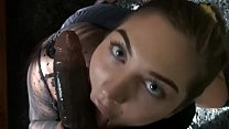 Teen with sexy eyes gives amazing blowjob 14 min