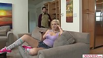 Blonde babysitter assfucked by her boss
