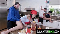 Daughters fucked by horny Dads while cooking