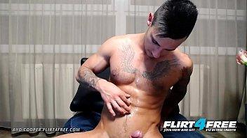 Ayo Cooper - Flirt4Free - Tatted Euro Stud w Monster Cock Jerks Off Hard